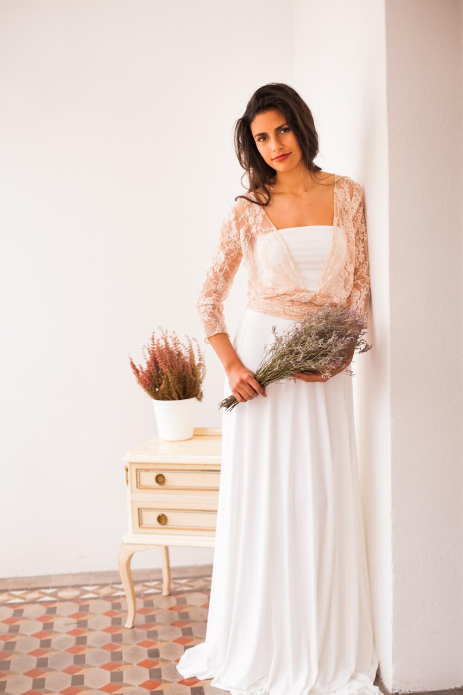 Wedding dress sleeves rose quartz bridal gown pastel pink zoom ombrellifo Images