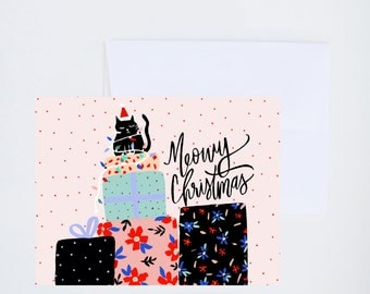 Holiday Greeting Cards - Meowy Christmas - Single A-2 Card