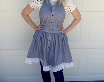 Apron made from Designer Dress Shirt, Button Down collar, waisted with eyelet trim ruffle skirt