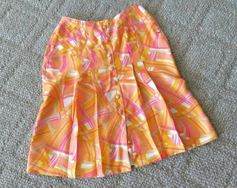 Sale Super cute little vintage 60's Mod OP Art print pleated skirt -- Pucci like -- Size S-M