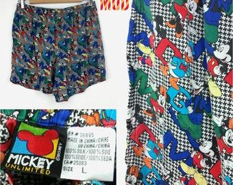 Cool Vintage 90s Silk Disney Boxers - Mickey, Minnie, Donald & Goofy!!