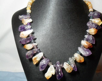 Rough Natural Amethyst and Citrine Nugget necklace (5/2016)