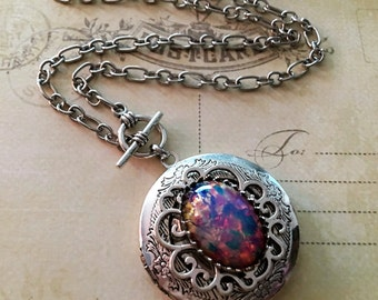 Fire Opal Locket Necklace,  Harlequin Glass Opal, Silver Locket