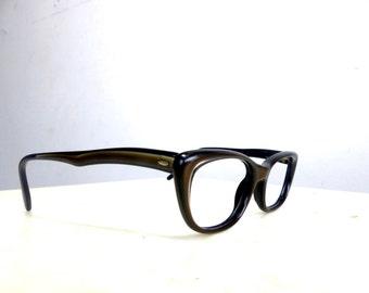 Raybert Eyeglasses Women's Vintage 1950's Brown Cat Eye Made in Italy No Lenses