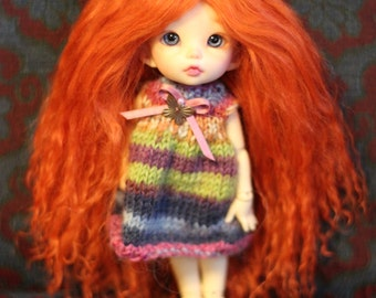 Bright Carrot mohair wig for Pukifee / Lati Yellow / other small doll