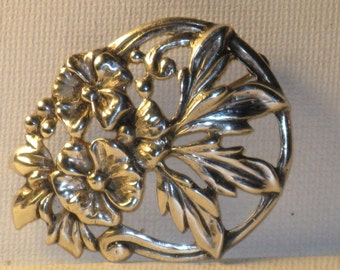 Vintage Danecraft Sterling Silver Floral Brooch Pin (B-3-7)
