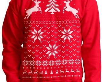 Ugly Christmas sweater -- Reindeer in the snow -- pullover sweatshirt -- s m l xl xxl xxxl skip n whistle