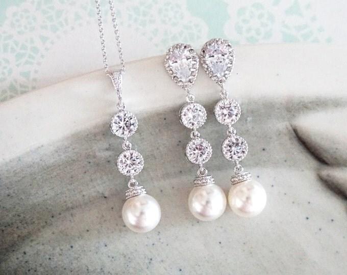 Charlotte - Cubic Zirconia Earrings, Crystal teardrop, Swarovski pearl drop, Wedding Bridal, Bridesmaid earrings, Clear White weddings