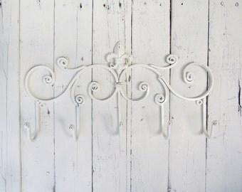 White Hooks, Fleur De Lis Decor, Metal Hooks, Five Hooks, Rustic, French Cottage Decor , Wall Decor, Organize, Towel Hooks, Coat Hooks