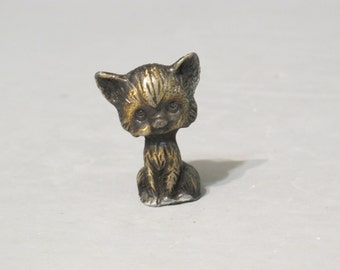 Vintage Cute Cat Miniature Pewter Figurine with Gold and Black Finish / Small Kitty Sculpture Feline Statue Tiny Pussycat Adorable Kitten
