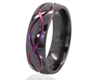 New Infinity Ring, Purple Anodized Infinity Band, Carved Purple & Black Infinity Ring, Unique Infinity Jewelry: BZ-7HR-Inf-T2-Purple