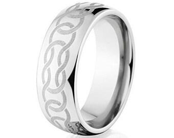 Custom Lasered Celtic Ring Made In Titanium; Celtic Wedding Bands Premium Titanium Rings : 8HR-C4L