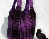 Ms Money Penny Purple Goth Plaid Knitting Project Tote or Purse