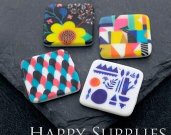 2pcs 30mm Diamond Handmade Photo Ceramic / Porcelain Pendants / Charms (CPF05-08) - High Quality No Scratch Guarantee