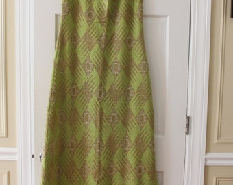 Vintage 1960s Caledonia Green and Gold Metllic Long Knit Dress