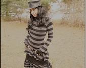 SALE - Steampunk - Burning Man - Boho - Sexy Top -Strips - Tunic - Top - Playa Wear - Bohemian Gypsy Fashion - Black - Size Small