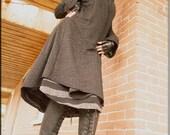 Reserved - Jacket - Steampunk - Wrap Around Jacket - Hooded Wrap Sweater - Open Jacket - Hooded Jacket - Bohemian - Black - Size Medium