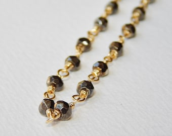 Faceted Pyrite Necklace - Gold Filled Beaded Rosary Necklace Beadwork Necklace Bead Rosary Chain