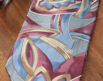 FREE SHIPPING!!!  Vintage Christian Dior burgundy gold and grey Silk Necktie