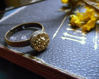 The Gilded Druzy Ring.  Gold Druzy Titanium Coated Crystal Cabochon ring.
