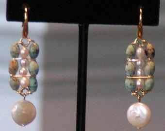 Turquoise Earrings, Coin Pearl Earrings, Rice pearl Earrings, Fresh Water Pearl Earrings, Handmade