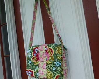 MESSENGER BAG - Cross Body Bag - Laptop Bag - Large Bag - Tablet Bag - Original Design by Hold it Right There - Amy Butler fabrics