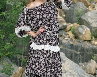 SALE! Designer navy skirt, Viscose summer skirt, blue skirt, navy skirt, hippie lace skirt, lace skirt, Boho style skirt, Gypsy hippi skirt