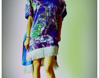 Purple Picasso Upcycled Silk Scarf Kimono Fringed Print Dress             ReMade in Brighton UK