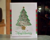 "Handmade Christmas Tree Shaker Card - Stampin' Up Peaceful Pines - 5.5"" x 4.25"" - Red, Green & Silver Foil Stripes"