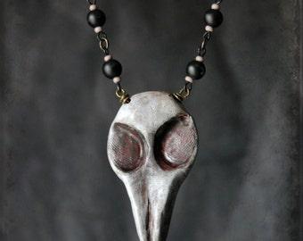 bird skull Beetelgeuse - necklace - wearable art, handsculpted, creepy, halloween, horror, tim burton, bird mask, skull, bone