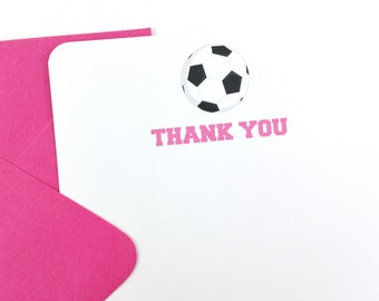 Girl Soccer Thank You Notes, Soccer Stationery - SET OF 12