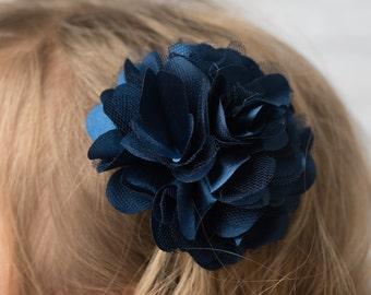 Navy flower clip 3 inch hair accessory wedding flower girl birthday gift hair clip bridesmaid accessory mesh flower clip blue hair clip
