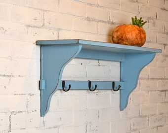 """Handmade Open Back Wall Shelf with 3 Coat or Bathrobe Hooks - 28"""" Long by 8"""" Deep Vintage Black under Smokey - IN STOCK - Same Day Shipping"""