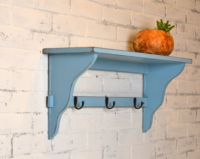"Handmade Open Back Wall Shelf with 3 Coat or Bathrobe Hooks - 28"" Long by 8"" Deep Vintage Black under Smokey - IN STOCK - Same Day Shipping"