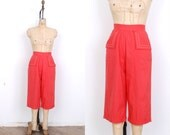 Reserved...Vintage 1950s Pants / 50s Cropped Cotton Pants / Coral Red (small S)