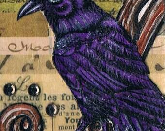 Purple Raven, Original, Mixed Media ACEO, Collage, One of a Kind, Miniature Art, Crow, Bird Art Card