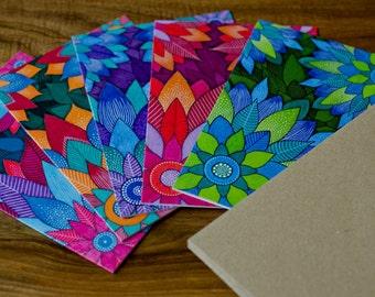 Floral Mandalas - Set of 5 Greeting Cards