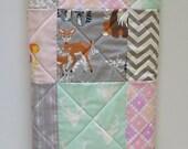 Baby Girl Woodland Quilt-Modern Crib Blanket-Hello Bear-Aztec-Mint-Gray-Pink-Buck-Antlers-Chevron