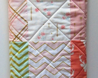 Modern Baby Girl Quilt-Woodland-Forest-Brambleberry and Glitz Fabric-Coral Mint Pink-Gold Shimmer-Buck-Antler and Arrows Baby Shower Blanket
