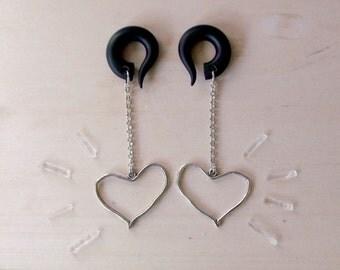 Silver Sketched  Heart Drop Gauged Earring Plugs