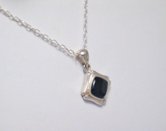 925 sterling silver 18 inch cable chain link necklace jet black onyx gemstone pendant combo set somewhat dainty