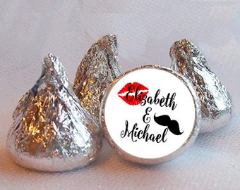 """3/4"""" Candy Stickers, Lips & Mustache Design,  Bridal Shower, Engagement Party, Wedding, Black and Red, Sheet of 108 Labels"""
