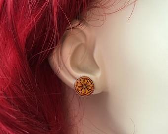 Orange Earrings, Fruit Earrings, Orange Slice Earrings, Orange Fruit Jewelry, Citrus Earrings, Citrus Jewelry, Handmade Earrings, Studs