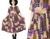90s Babydoll Dress Leopard Maxi Dress Grunge Button Down Front Dress Short Sleeve Summer Dress Boho Mixed Print Multi Color Dress (M)
