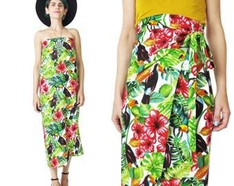 25% OFF SALE Vintage Tropical Sarong Skirt Jungle Print Beach Sarong Novelty Print Parrots Birds Resort Dress Vacation Wrap Skirt (M/L/Xl)