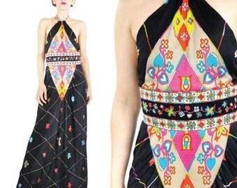 1970s Oleg Cassini Dress Halter Maxi Dress Psychedelic Maxi Dress Hearts Floral Pop Art Print Dress Backless Summer Festival Dress (XS)
