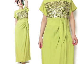 1940s Sequin Dress 1940s Evening Gown Gold Sequin Dress Crepe Draped Dress Yellow Evening Gown Chartreuse Short Sleeve Gown Formal (S) E803