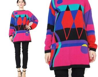 Vintage 80s Abstract Sweater Colorful Bright Sweater Diamond Pattern Rainbow Striped Sweater Womens Geometric Op Art Pint Jumper (S/M) E51