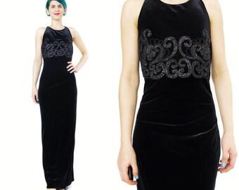 90s Black Velvet Evening Gown Velvet Evening Dress Sparkly Glitter Maxi Dress Criss Cross Back Long Dress Black Velvet Prom Dress (S/M)