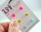 Teeny Tiny Earrings Hot Pink Earrings Chartreuse Earrings Light Blue Earrings Rosette Earrings Tiny Button Earrings Cute Earring Studs